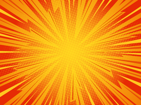 Pop art comic background lightning blast halftone dots