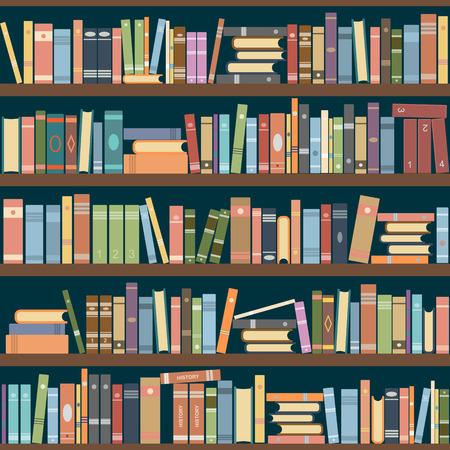 Regały pełne książek zarówno w bibliotece. Ilustracji wektorowych.