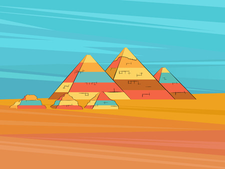 Egyptian pyramids Sahara desert landscape. Vector illustration. Illustration