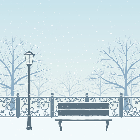 Snow drifts in winter park. Snow covered trees, bench and street lamp. Christmas vector illustration.