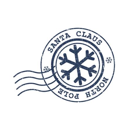 메리 크리스마스 게시물 스탬프 북극에서 산타 클로스입니다. 흰색 배경에 고립 된 벡터 일러스트 레이 션.