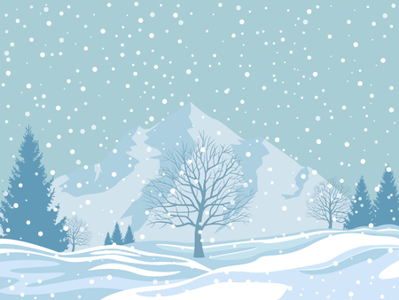 Winter landscape on snowy background. Christmas vector illustration.
