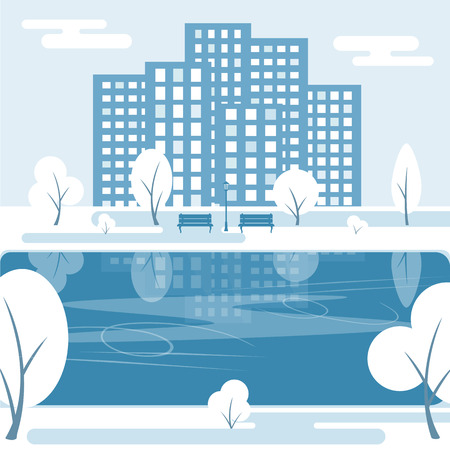 Winter public park with trees, ice skating rink, benches and city buildings. Vector illustration on white snowy background.