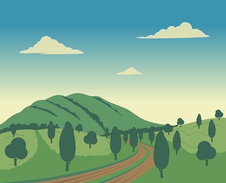 국가로 나무와 자연 구릉 풍경입니다.