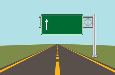Panneau routier Tableau vert avec flèche et route avec marques. Illustration vectorielle Vecteurs