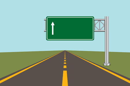 Road highway sign. Green board with arrow and road with markings. Vector illustration. Stock fotó - 89119890
