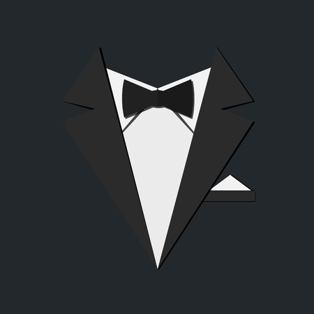 Black male suit, white shirt and bow tie. Vector illustration
