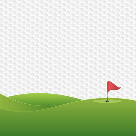 Golf background. Golf course with a hole and a flag. Vector illustration.