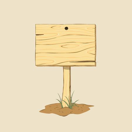 Holzschild auf dem Boden. Doodle-Stil. Isolierte Vektor-Illustration. Vektorgrafik