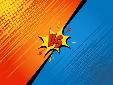 Comics fight background. Versus battle. Cartoon vector illustration