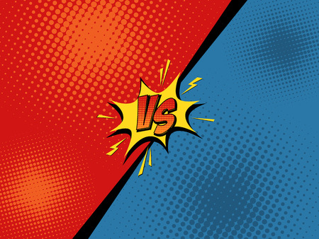 Comic book versus background. Vector illustration pop art style Vettoriali