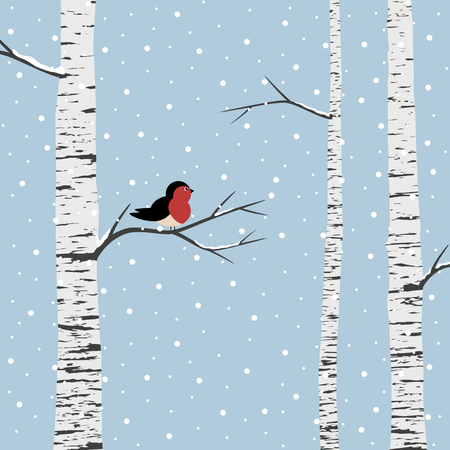 Birch trees on winter pattern illustration. Illustration
