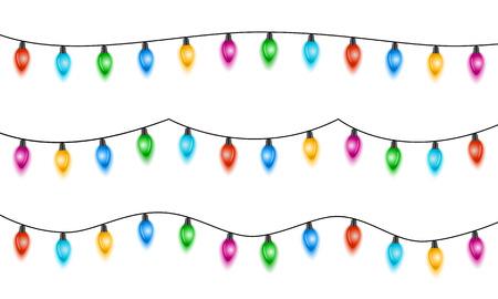 Kerstverlichting geïsoleerd op een witte achtergrond. Set xmas gloeiende slinger met gekleurde bollen. Vector illustratie Stockfoto - 91990558