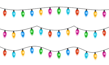 Christmas lights isolated on  white background. Set of xmas glowing garland with colored bulbs. Vector illustration