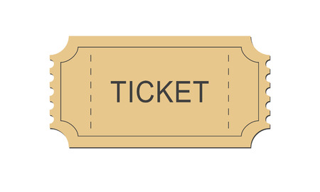 Simple ticket old paper. Isolated vector illustration on white background. Illustration