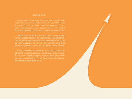 Start of the rocket  start up business project. Vector illustration on orange background.