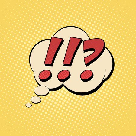 Questions exclamation marks comic text. Pop art style. Color comics book. Cartoon vector illustration. Ilustração