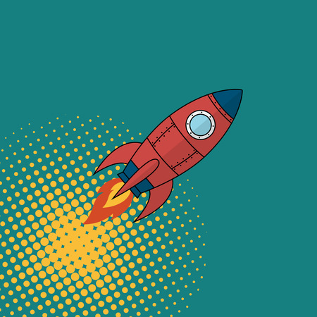 Space rocket comics book style Vector illustration.