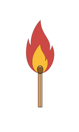 Burning match stick. Match with fire. Isolated vector illustration on white background. Çizim
