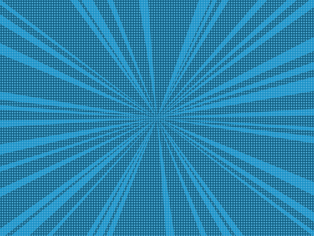 Comic book pop art retro background with halftone dots and radial rays. Vector illustration of blue background. 일러스트