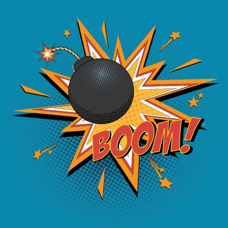 Comic bomb and explosion for comics book. Vector cartoon illustration.