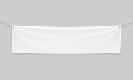Empty mockup white textile banner with folds on ropes. . Isolated vector illustration on a light background. Stock fotó - 94490108