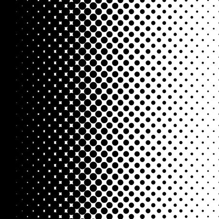 Motif à pois en demi-teintes. Cercle noir pointe sur fond blanc. Illustration vectorielle