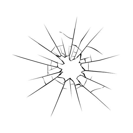 Cracks on glass. Broken crushed glass Vector illustration.