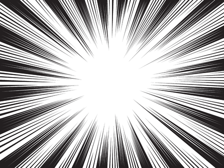 Radial speed lines for comic books. Explosion background.Vector illustration. Illustration