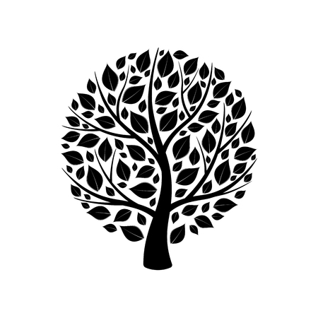 Silhouette of black isolated trees with leaves on white background. Isolated vector illustration.