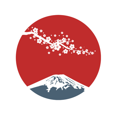Cherry blossom branch with red sun in Asian style. Sakura blossom and sunrise. Japanese symbols mount Fuji. Vector illustration. Vettoriali