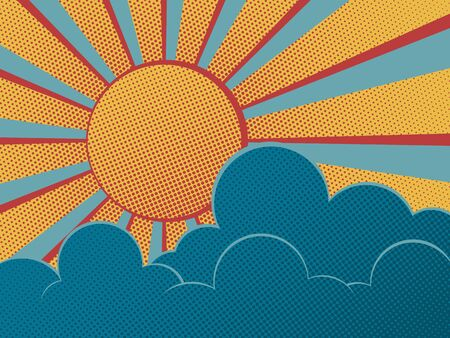 Sun and clouds on blue sky retro poster. Abstract sunshine background.