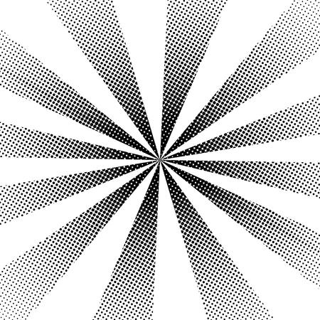 Halftone dots texture background. Abstract rays pattern. Vector illustration. 일러스트