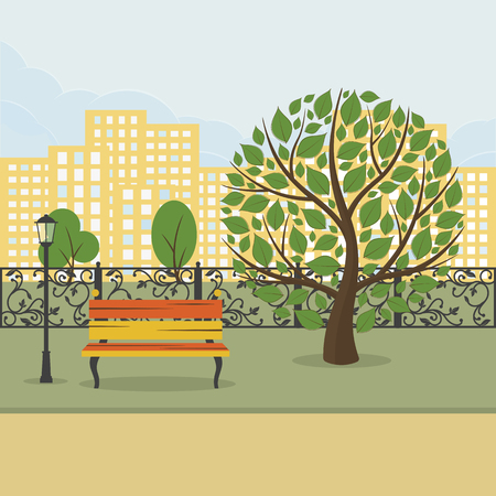 City park with green trees, bench and house in background Vector illustration.