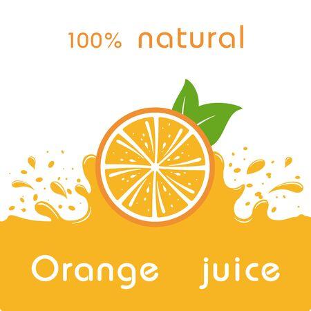 Orange juice and splashing juice on orange background. Vector illustration banner design or poster.