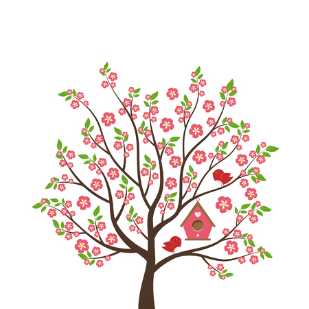 Cute cartoon bird on tree. Spring scene with flowers, trees and birdhouse. Vector illustration on white background. Illustration