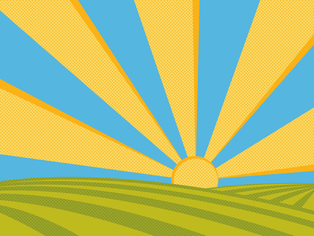 Sunrise on fields. Summer sunny day in countryside. Vector illustration.