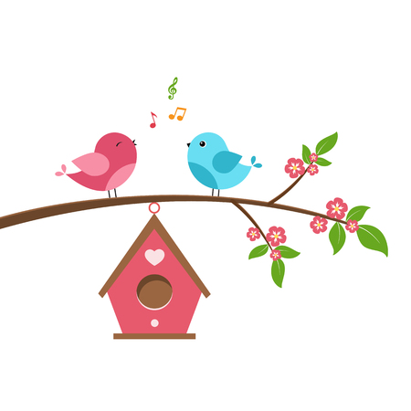 Singing bird on branch. Spring scene with flowers, trees and a birdhouse. Vector illustration on white background. Çizim