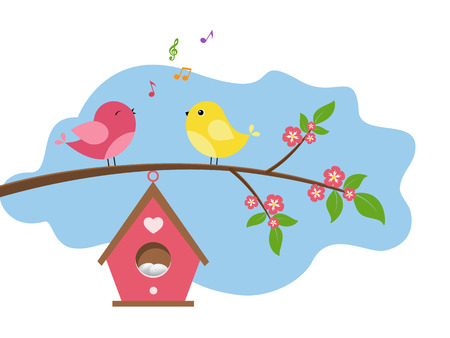 Singing birds on branch. Spring scene with flowers, trees and a birdhouse. Vector illustration on white background.