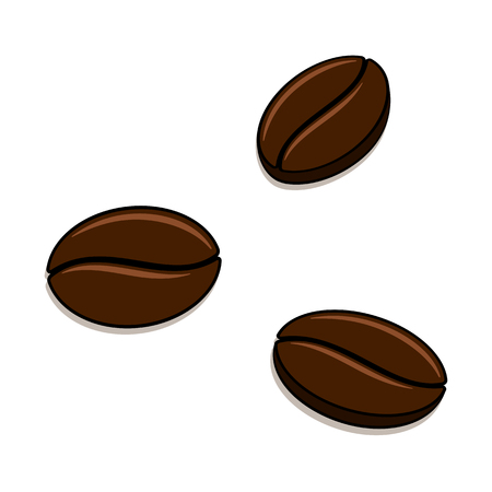 Coffee beans on white background. Vector illustration. Vettoriali