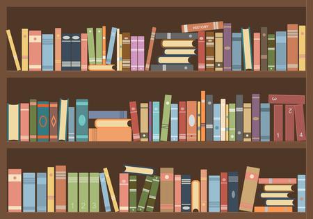Bücher im Bücherregal. Lesesaal der Bibliothek Vektorgrafik