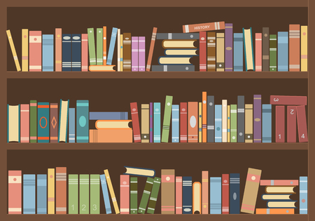 Books in bookcase. Library reading room Vector Illustration