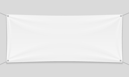 Empty mockup white textile banner with folds on ropes. Illustration