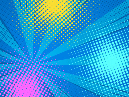Abstract comics pop art style blank layout. Rays and halftone dot . Vector illustration on blue background.