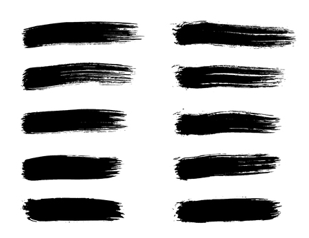 Set di pennellate di nero grunge per elementi di design artistico. Pennellata astratta creativa fatta a mano Vettoriali