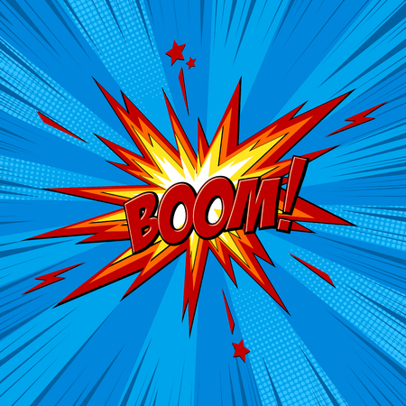 Boom comic text speech bubble. Sound effect bang cloud icon of color phrase lettering. Vector illustration on blue background.