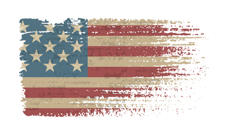 Flag of the USA. Vintage American flag grunge style. Isolated vector illustration on white background.