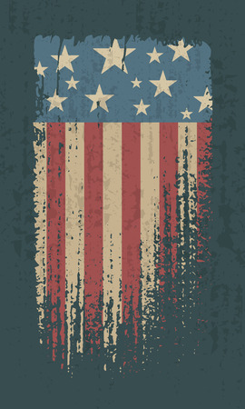 Flag of USA grunge style. Vintage stylized American flag. Isolated vector illustration on dark background.