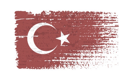 Flag of Turkey. Vintage Turkey flag grunge style. Isolated vector illustration on white background. Illustration