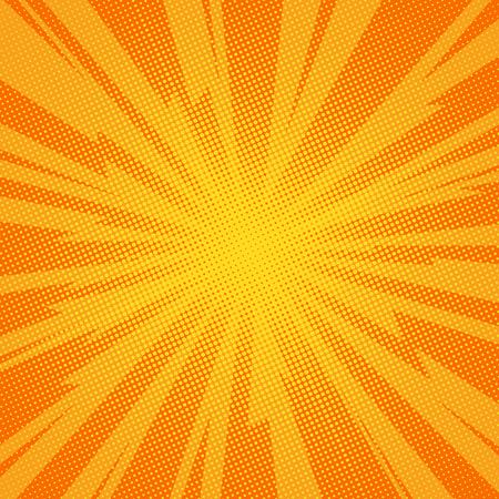 Comic book achtergrond bliksem blast halftoonpunten. Popart vector illustratie op oranje Vector Illustratie